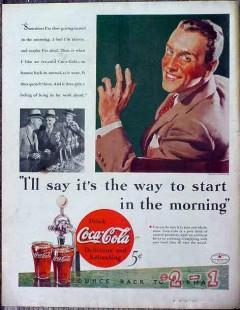 coca cola 1934 coke soda fountain start the morning vintage ad