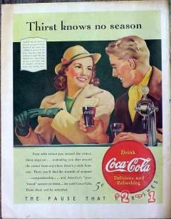 coca cola 1940 coke soda fountain thirst knows no season vintage ad