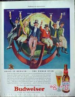 budweiser beer 1940 uncle sam cheers! vintage ad