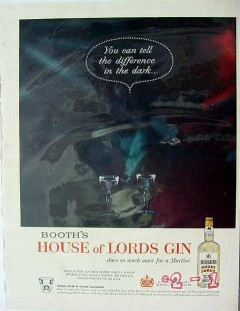 booths distilleries 1960 tell difference in the dark gin vintage ad