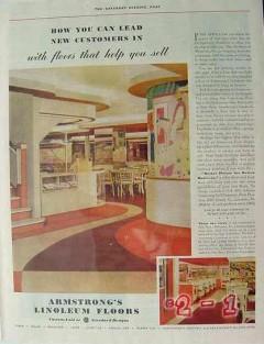 armstrong cork company 1940 floors help sell linoleum vintage ad