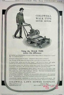 coldwell lawn mower company 1917 walk type suit tie mowing vintage ad