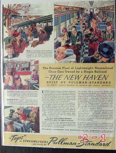 pullman-standard car mfg co 1940 new haven railroad train vintage ad
