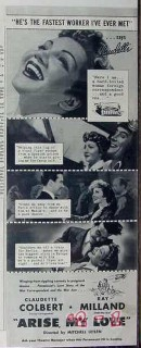 arise my love 1940 claudette colbert ray milland movie vintage ad