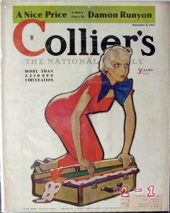 colliers 1934 woman with suitcase art robert oreid cover print