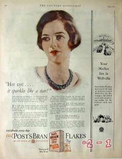 postum cereal company 1926 eye sparkles like a star post vintage ad