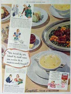 campbells soup 1940 we tried it cream of mushroom vintage ad