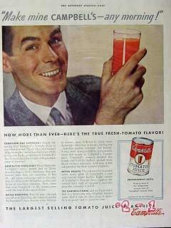 campbells 1940 make mine any morning tomato juice vintage ad