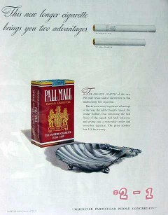 american cigarette cigar 1940 two advantages pall mall vintage ad