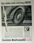 b f goodrich  1940 how spikes made motoring safer tire vintage ad