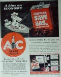 ac spark plug 1940 general motors line of economy saves gas vintage ad