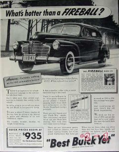 buick 1941 whats hotter than a fireball sedan car vintage ad