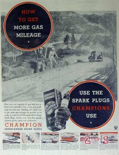champion spark plugs 1934 how to get more gas mileage vintage ad