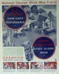 champion spark plugs 1934 national change week performance vintage ad