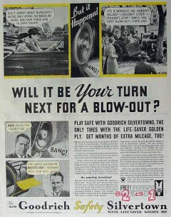 b f goodrich rubber company 1934 your turn for blowout tire vintage ad