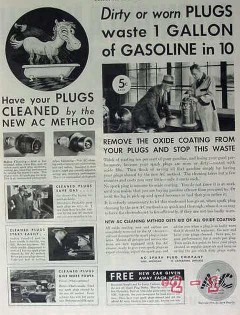 ac spark plug company 1934 clean dirty worn waste gasoline vintage ad
