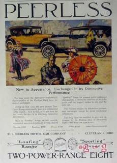peerless motor car company 1919 two-power-range eight car vintage ad