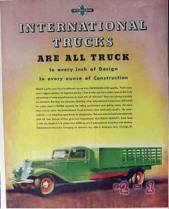 international harvester 1934 all truck design construction vintage ad