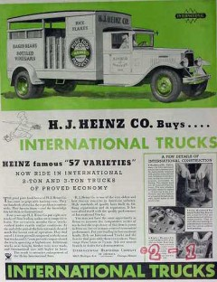 international harvester 1934 hj heinz 57 variety buys truck vintage ad