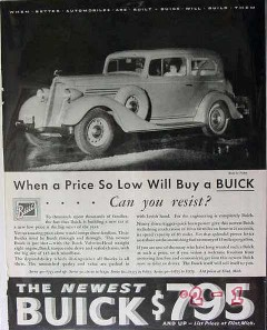 buick 1934 price low resist better built automobile car vintage ad