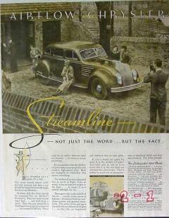 chrysler 1934 streamline airflow eight car vintage ad