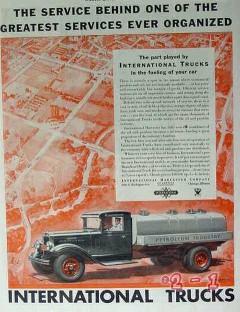 international harvester 1934 service trucks fueling car vintage ad