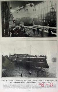 battleship nebraska 1904 launching navy ship seattle vintage article