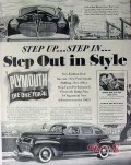 chrysler 1941 step up out in style plymouth powermatic car vintage ad