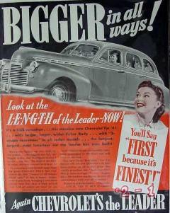 chevrolet 1941 bigger all ways length leader size car vintage ad