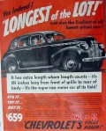 chevrolet 1940 longest of lot liveliest lowest priced car vintage ad