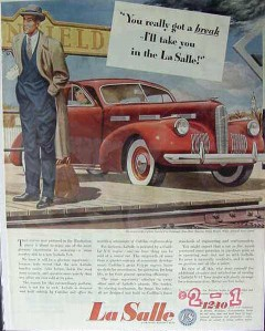 cadillac motor car 1940 lasalle special touring sedan break vintage ad