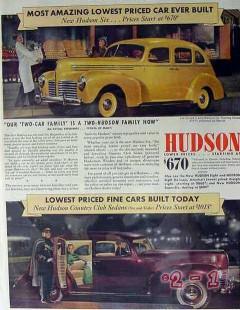 hudson motor car 1940 amazing lowest price ever built six vintage ad