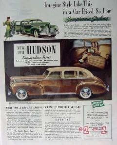 hudson 1941 commodore six sedan car vintage ad
