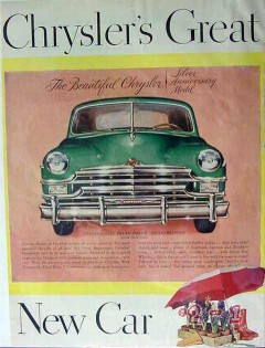 chrysler 1949 great silver anniversary model prestomatic vintage ad