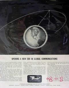 bendix corp 1961 new era global communications satellites vintage ad