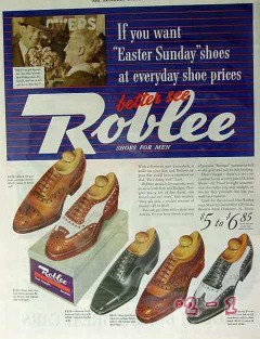 brown shoe company 1940 roblee easter sunday everyday men vintage ad