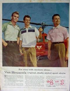van heusen 1953 teterboro airport nj helicopter mens shirt vintage ad