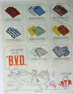 b.v.d. company 1953 just as long shirts swim trunks boxer vintage ad