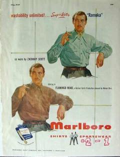marlboro shirt co 1949 ramoka zachary scott flamingo road vintage ad