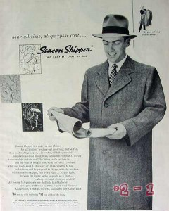 c b shane corp 1949 all purpose time season skipper coat vintage ad