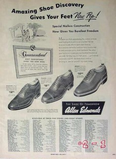 allen edmonds 1949 shoe discovery gives feet new pep mens vintage ad