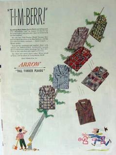cluett peabody company 1949 arrow tall timber sport shirts vintage ad