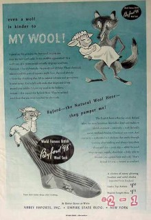 abbey imports 1949 wolf kinder my wool byford hose socks vintage ad