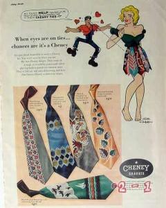 cheney cravats 1949 al capp art mens tie vintage ad