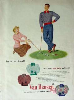 phillips-jones corp 1949 van heusen hard to beat golf shirt vintage ad