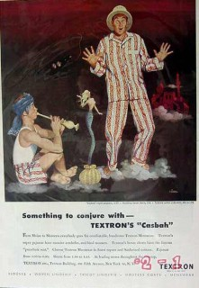 textron 1949 conjure with casbah pajamas boxers art siebel vintage ad