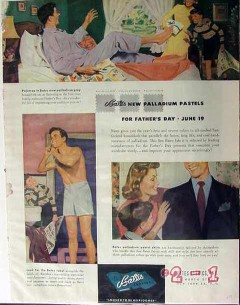 bates fabrics 1949 palladium pastels fathers day broadcloth vintage ad