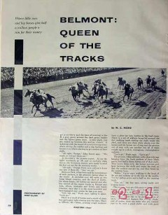 belmont queen tracks 1953 horse racing long island ny vintage article
