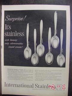 international stainless 1956 silver flatware vintage ad