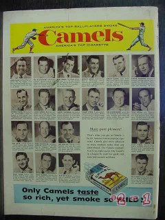camel 1956 mlb baseball players cigarette vintage ad